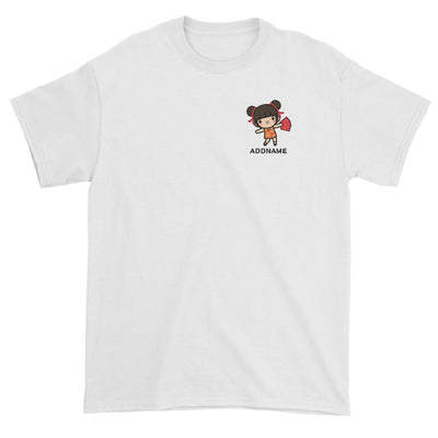 Prosperity CNY Girl with Red Packets Pocket Design Unisex T-Shirt
