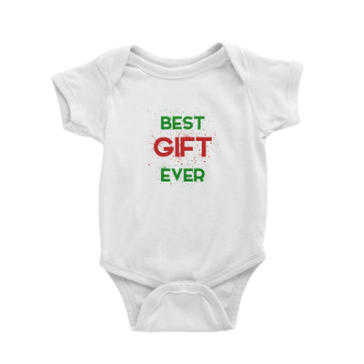 Best Gift Ever Baby Romper Christmas Matching Family Lettering Funny Personalizable Designs