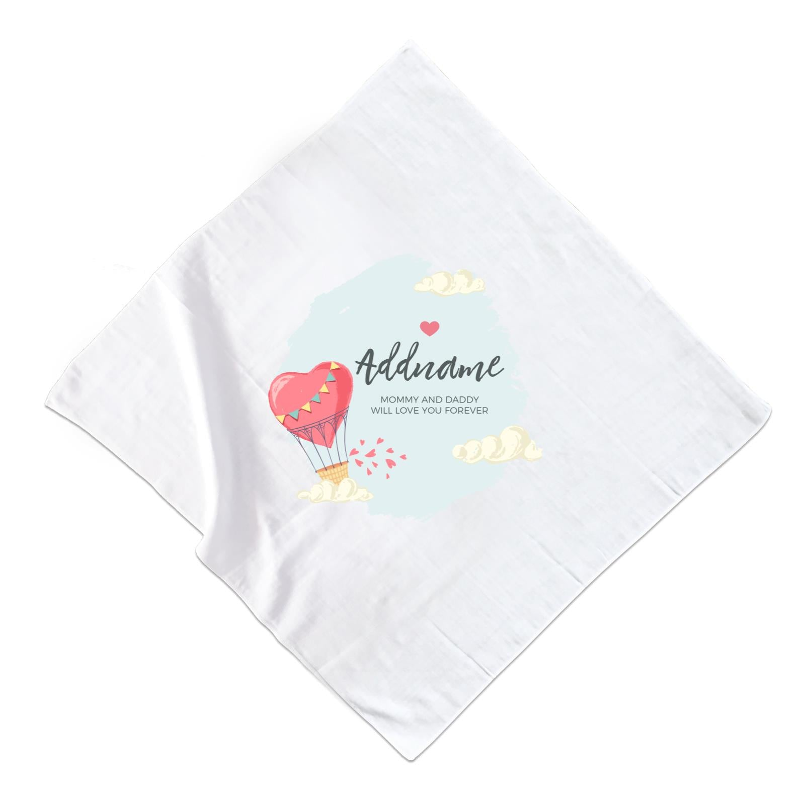 Heart Shaped Hot Air Balloon with Hearts and Clouds Personalizable with Name and Text Muslin Square