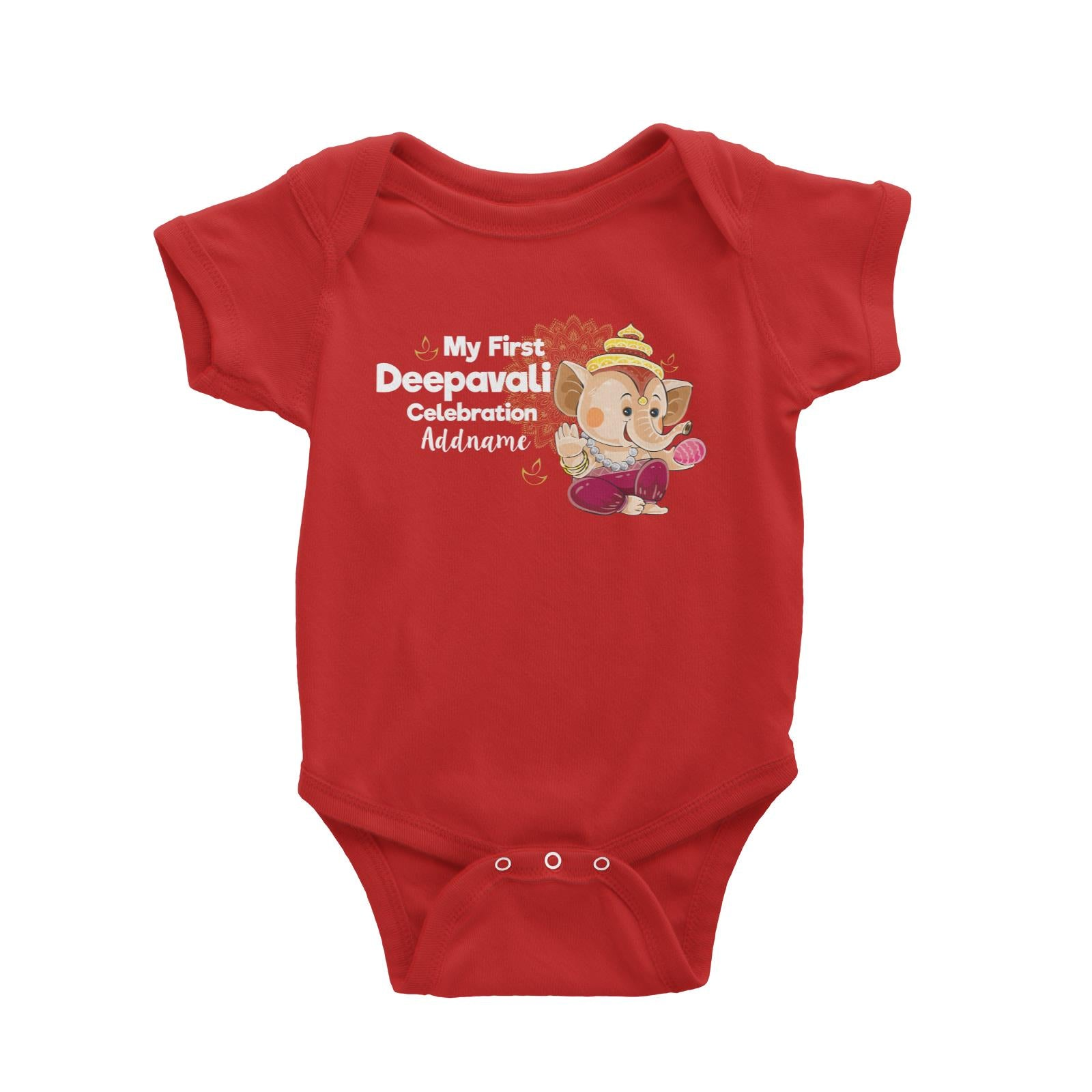 Cute Ganesha My First Deepavali Celebration Addname Baby Romper
