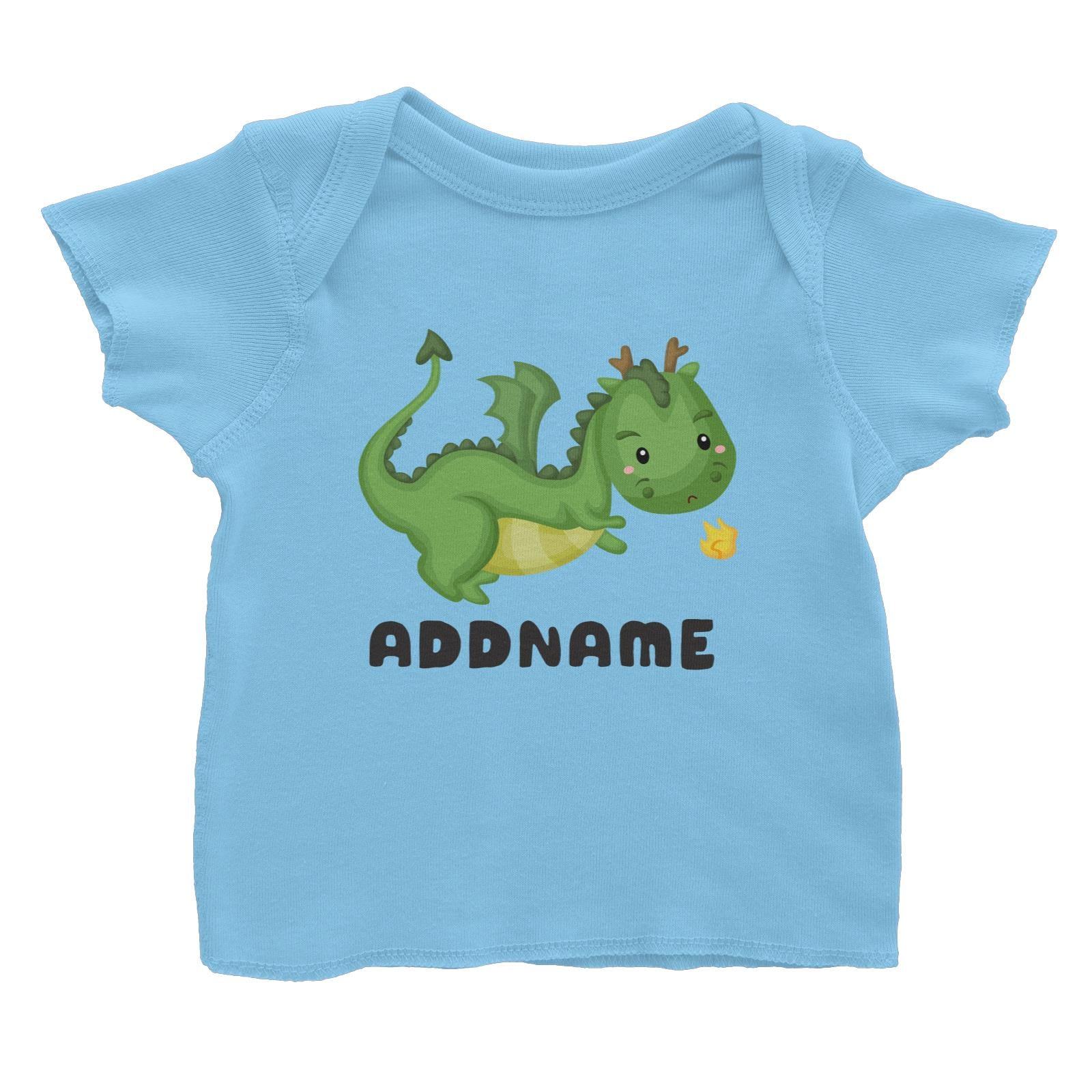 Birthday Royal Dragon Breathing Fire Addname Baby T-Shirt
