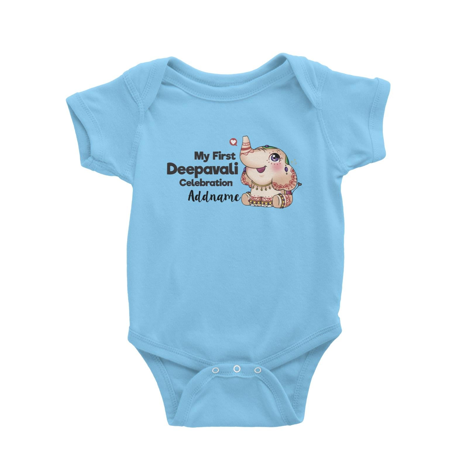 Deepavali Cute Decorative Ganesha My First Deepavali Celebration Addname Baby Romper