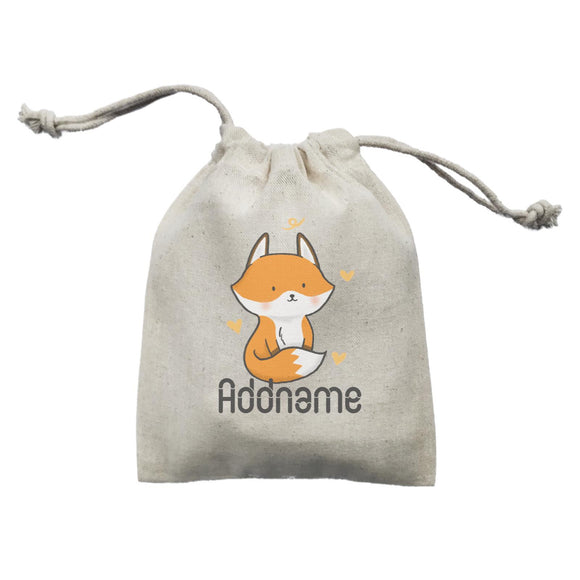 Cute Hand Drawn Style Fox Addname Mini Accessories Mini Pouch