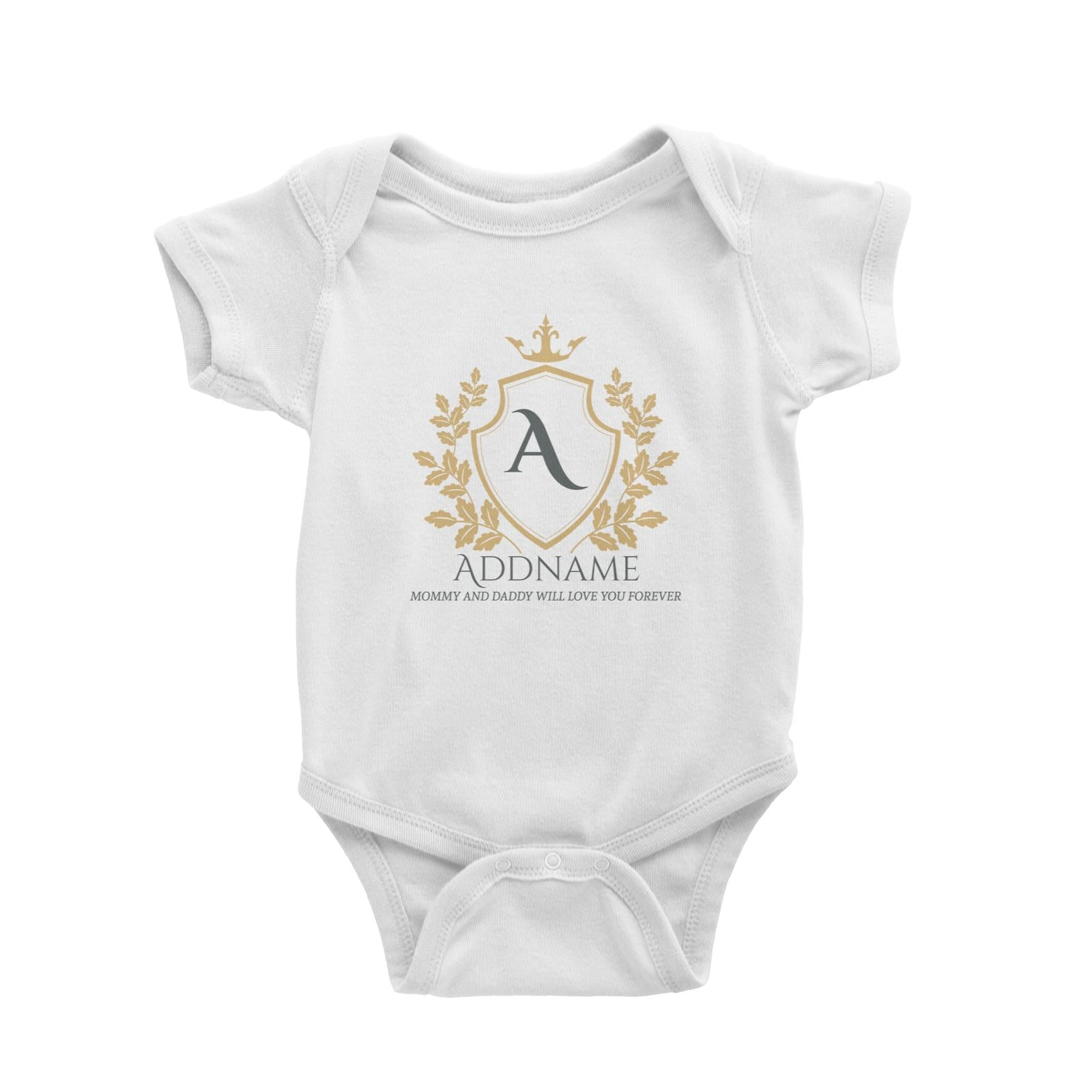 Royal Emblem Logo with Crown 2 Personalizable with Initial Name and Text Baby Romper