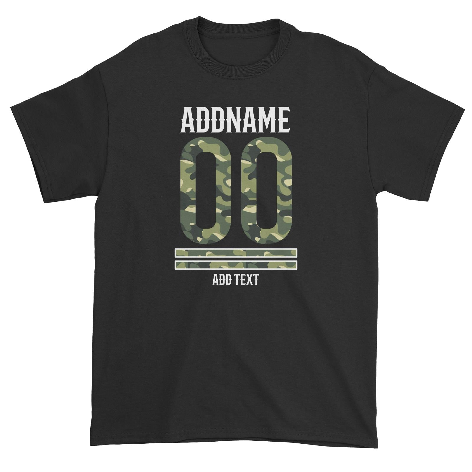 Camouflage Jersey Personalizable with Name Number and Text Unisex T-Shirt