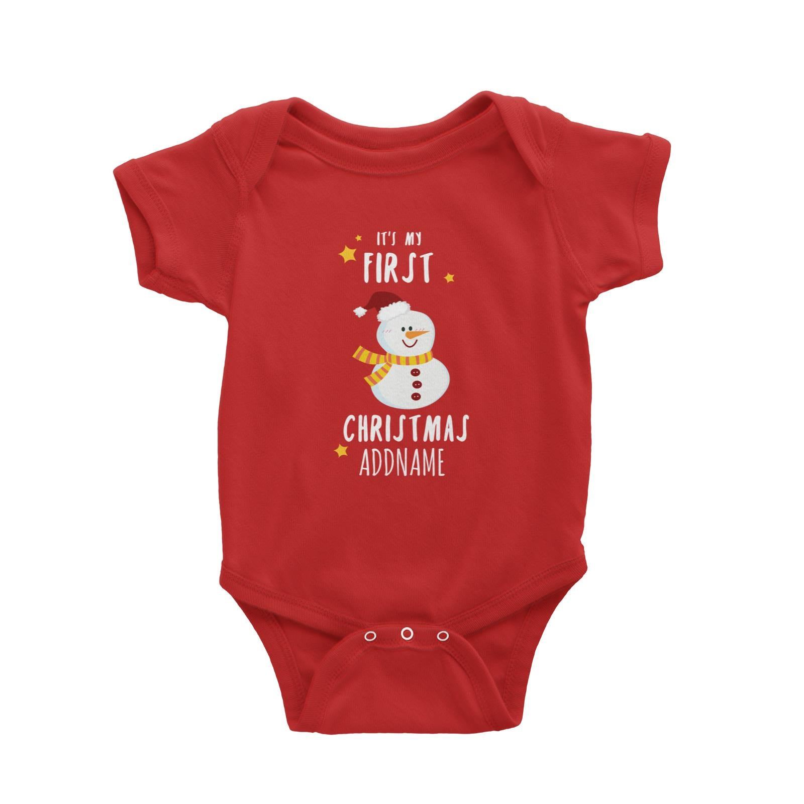 Cute Snowman First Christmas Addname Baby Romper  Personalizable Designs