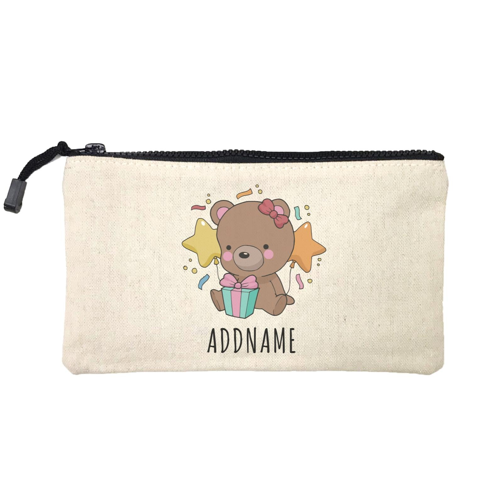 Birthday Sketch Animals Bear with Present Addname Mini Accessories Stationery Pouch
