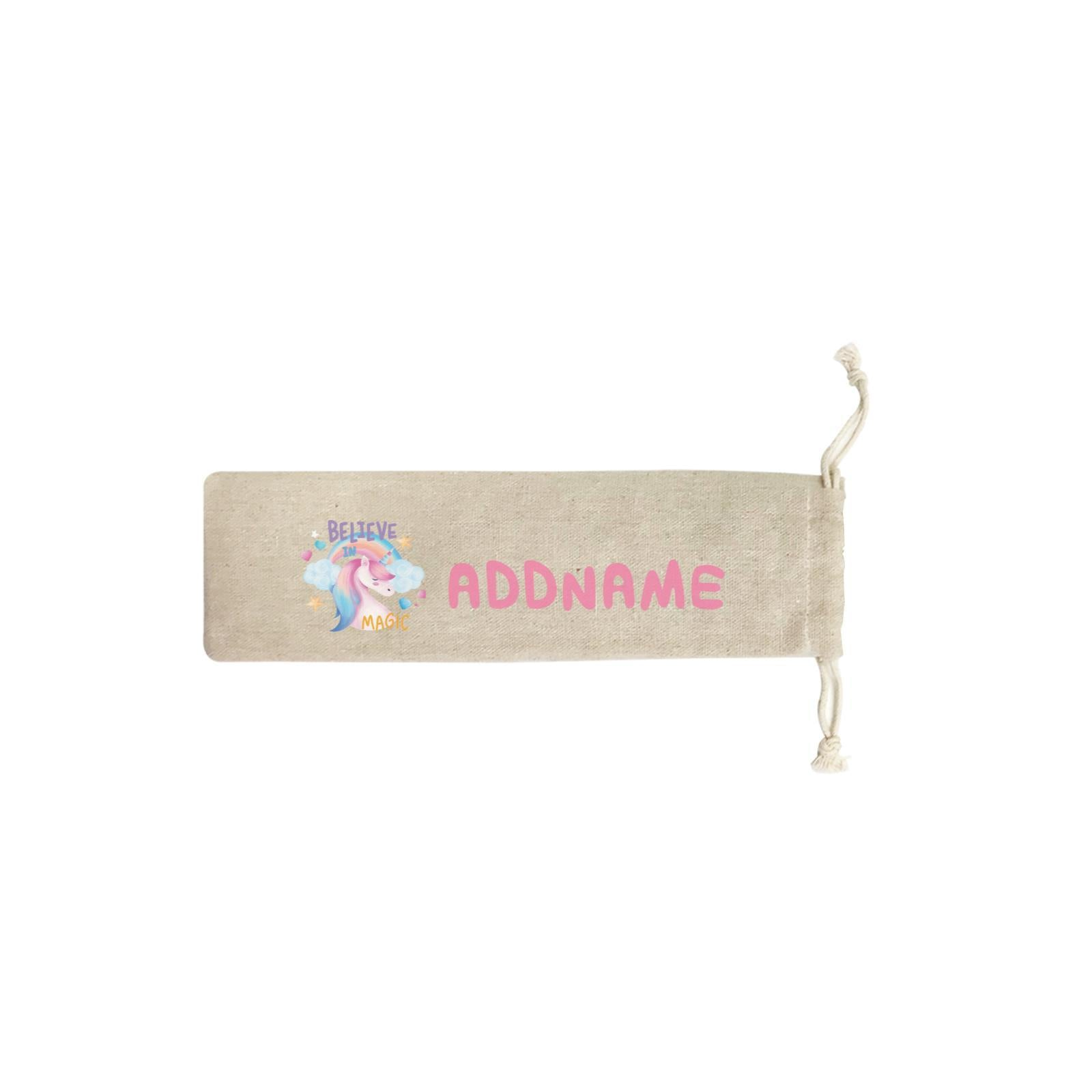 Children's Day Gift Series Believe In Magic Unicorn Addname SB Straw Pouch (No Straws included)