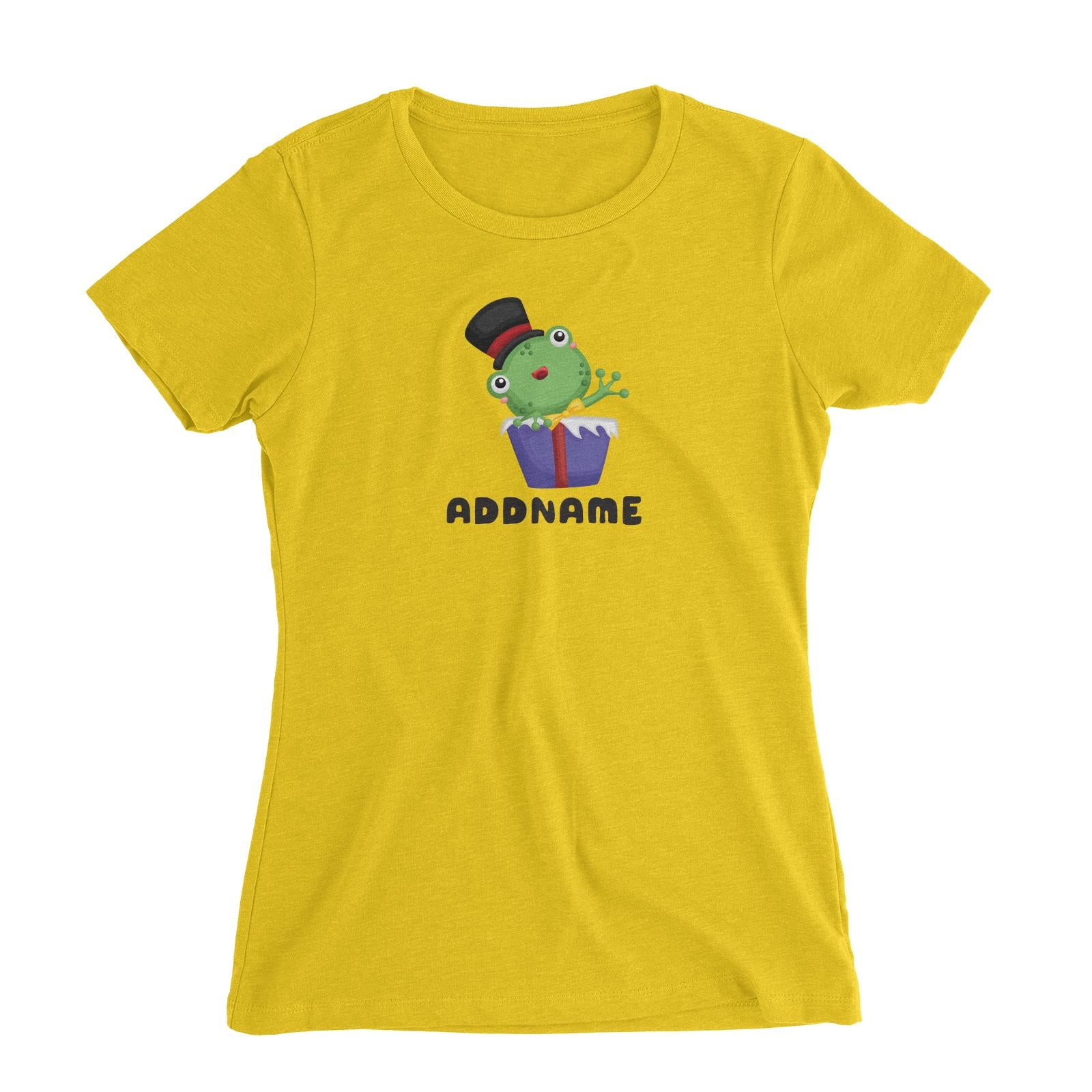 Birthday Frog Frog Wearing Hat Inside Present Box Addname Women's Slim Fit T-Shirt