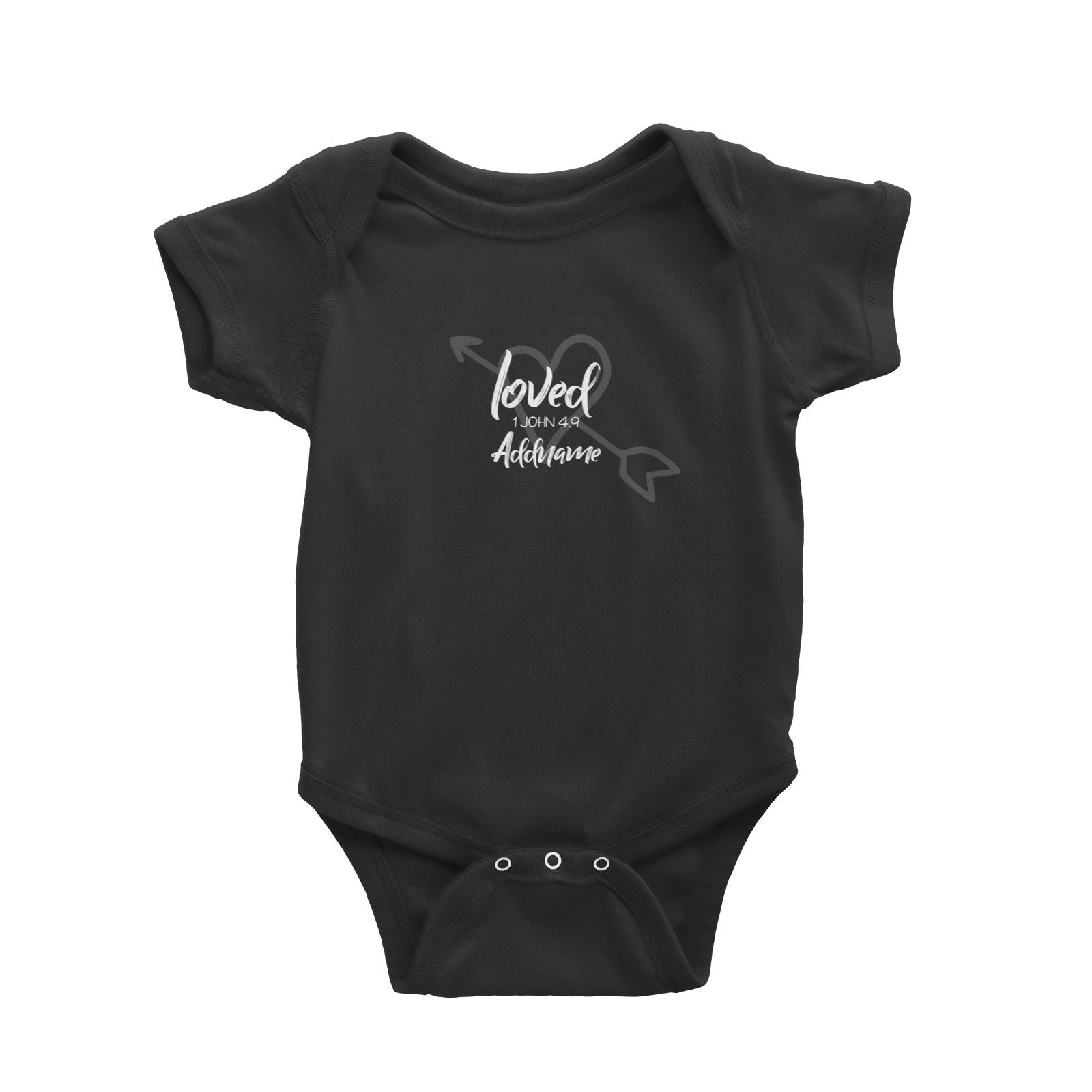 Loved Family Loved With Heart And Arrow 1 John 4.9 Addname Baby Romper