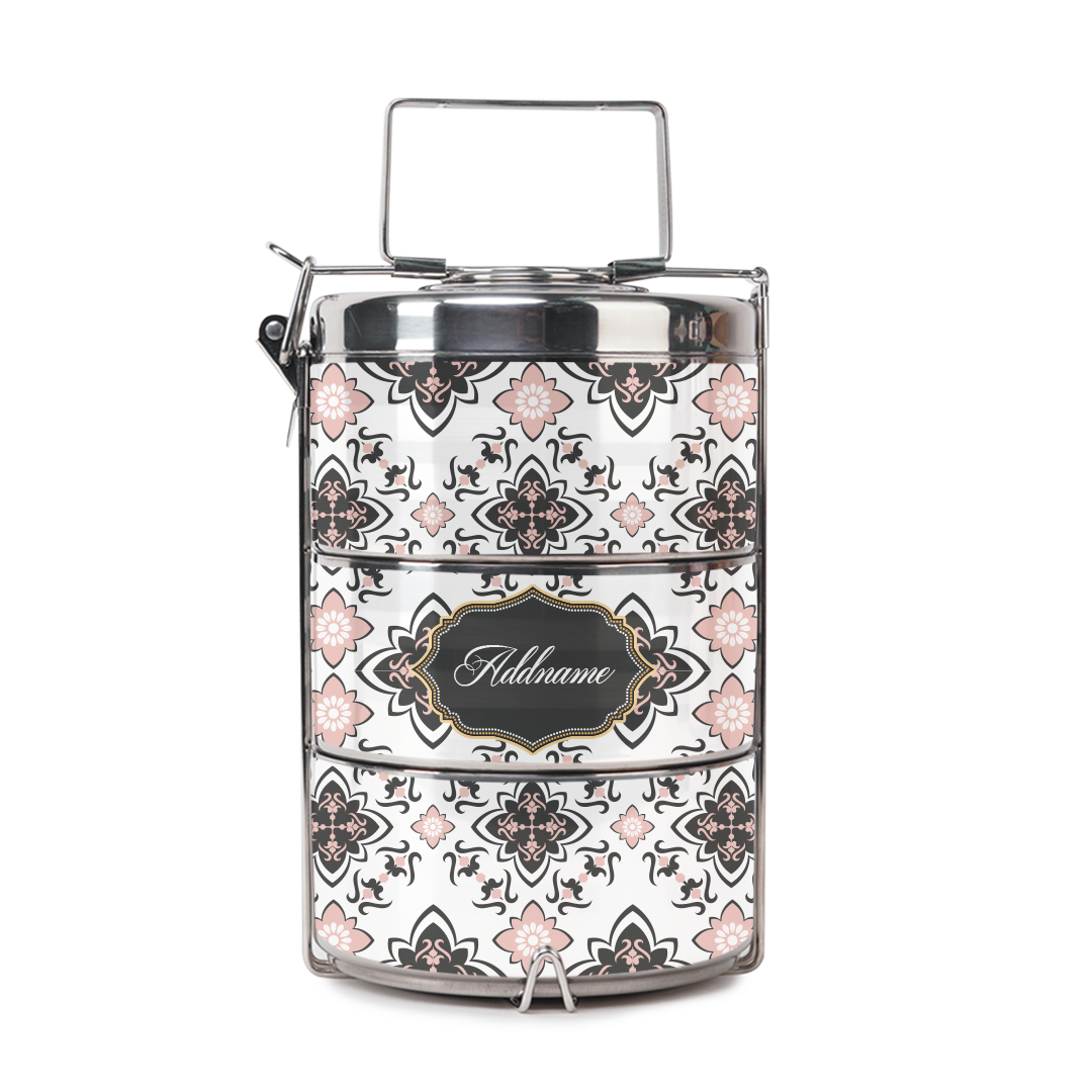 [RAYA 2021] Dusty Pink Mosaic Tiffin Carrier