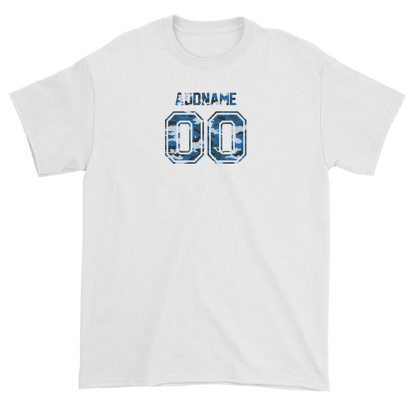 Custom Adults Jersey Blue Camo With Name and Number Unisex T-Shirt