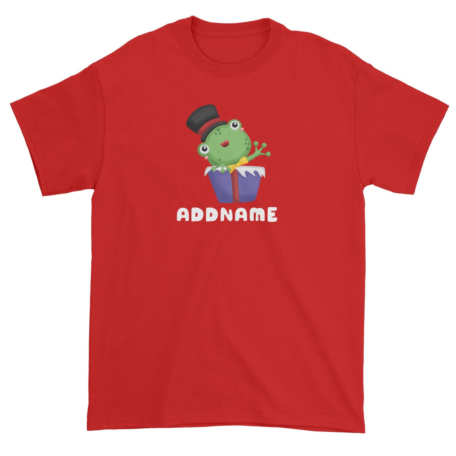 Birthday Frog Frog Wearing Hat Inside Present Box Addname Unisex T-Shirt
