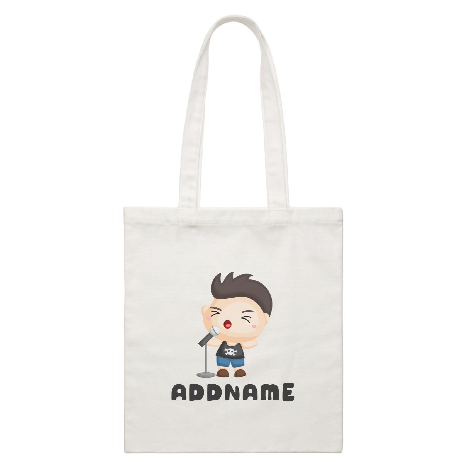 Birthday Music Band Boy Singing Mic Addname White Canvas Bag