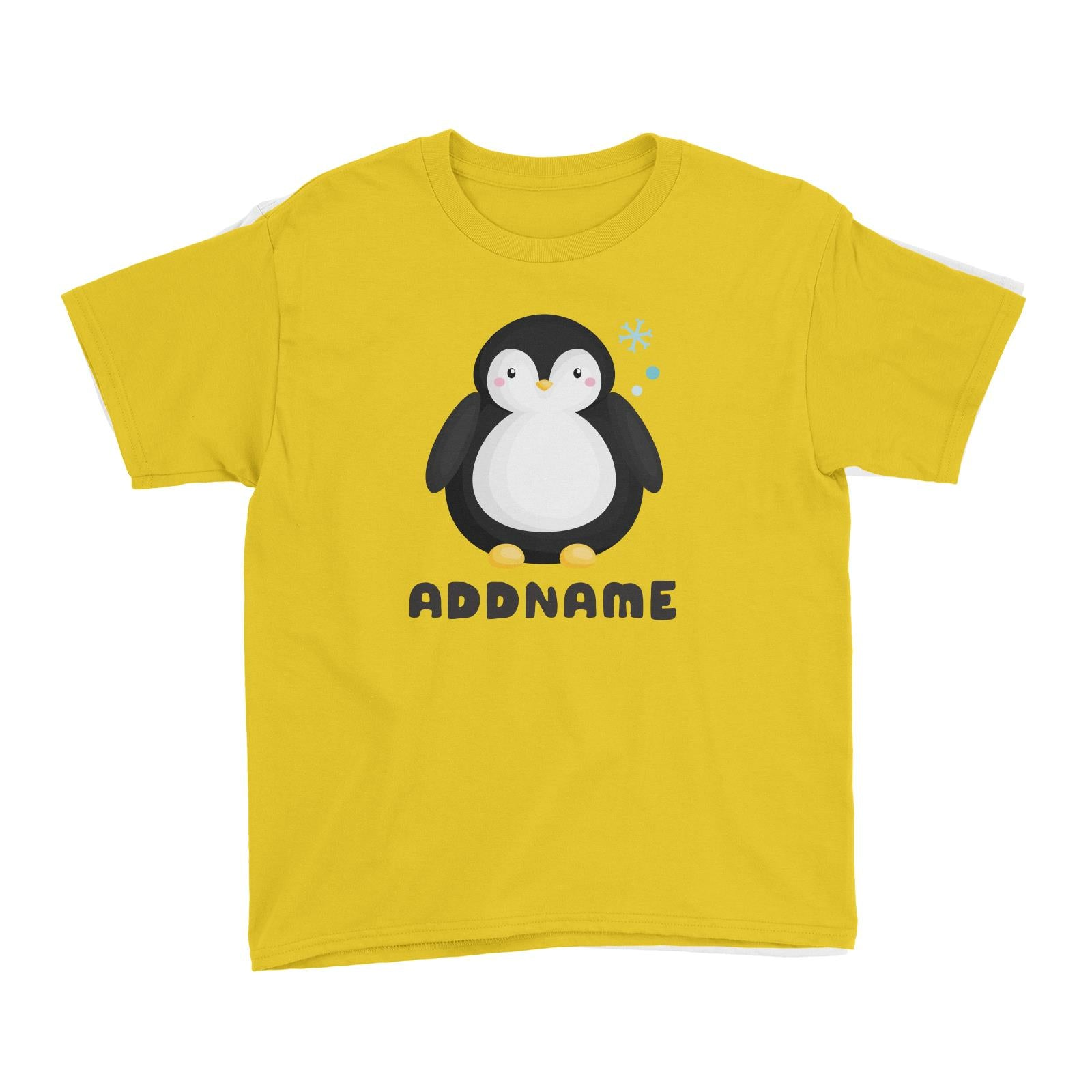Birthday Winter Animals Big Penguin Addname Kid's T-Shirt