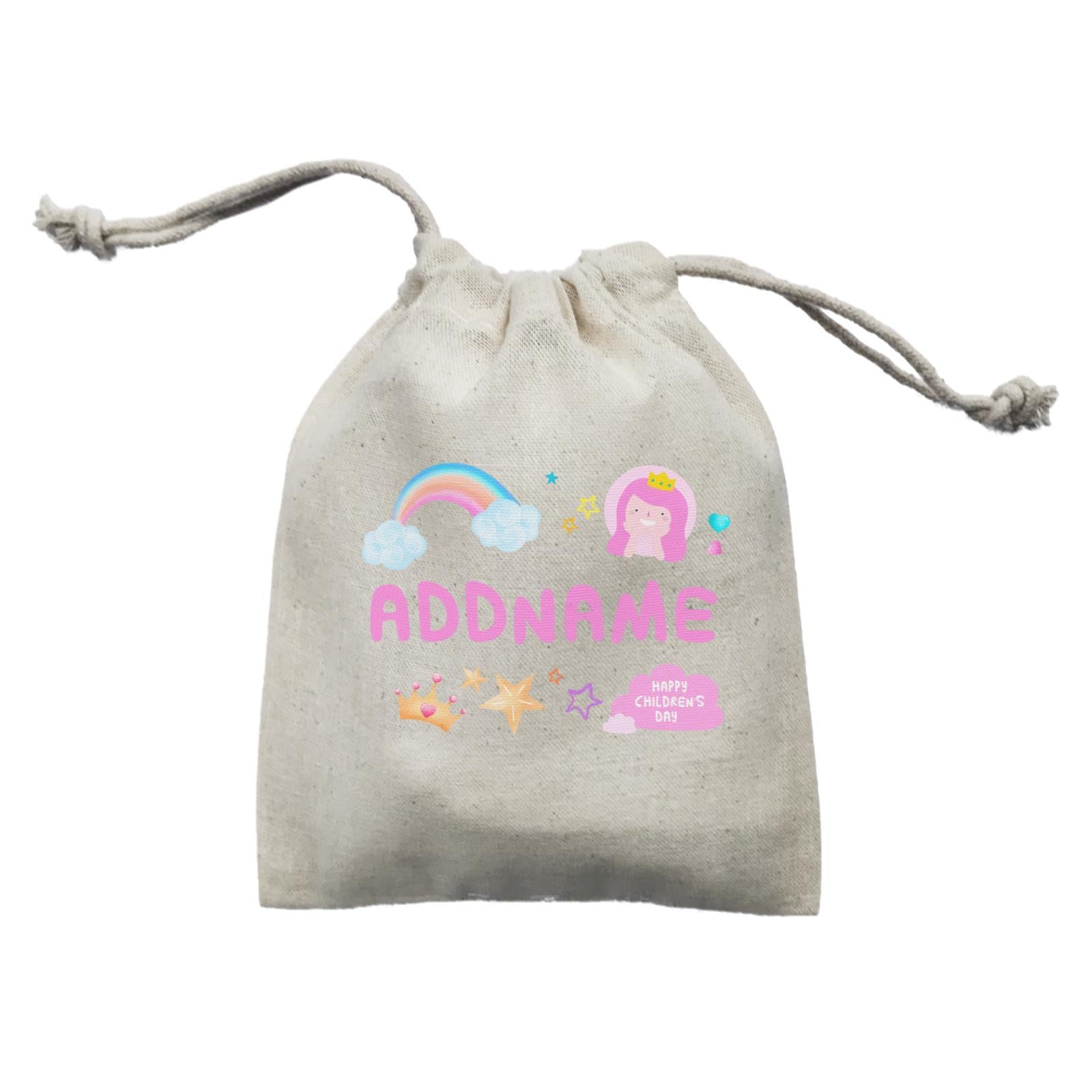 Children's Day Gift Series Cute Pink Girl Princess Rainbow Addname  Mini Pouch