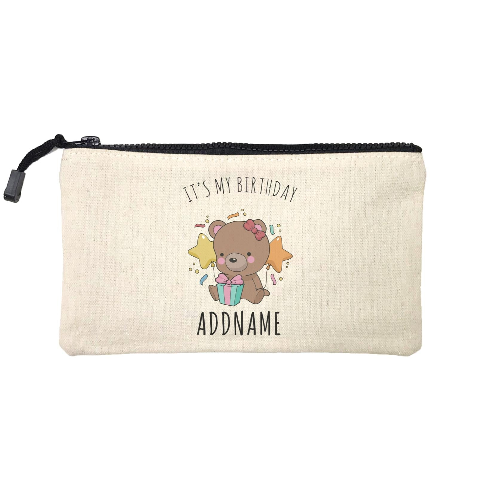 Birthday Sketch Animals Bear with Present It's My Birthday Addname Mini Accessories Stationery Pouch