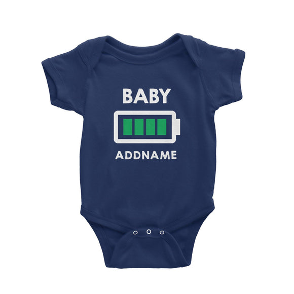 Battery Fully Charged Baby Addname Baby Romper  Matching Family Personalizable Designs