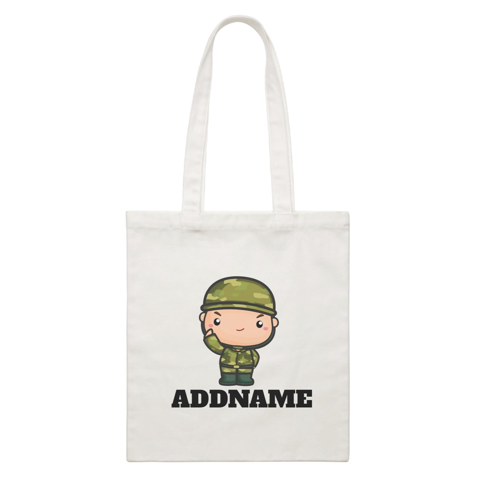 Birthday Battle Theme Army Soldier Boy Addname White Canvas Bag