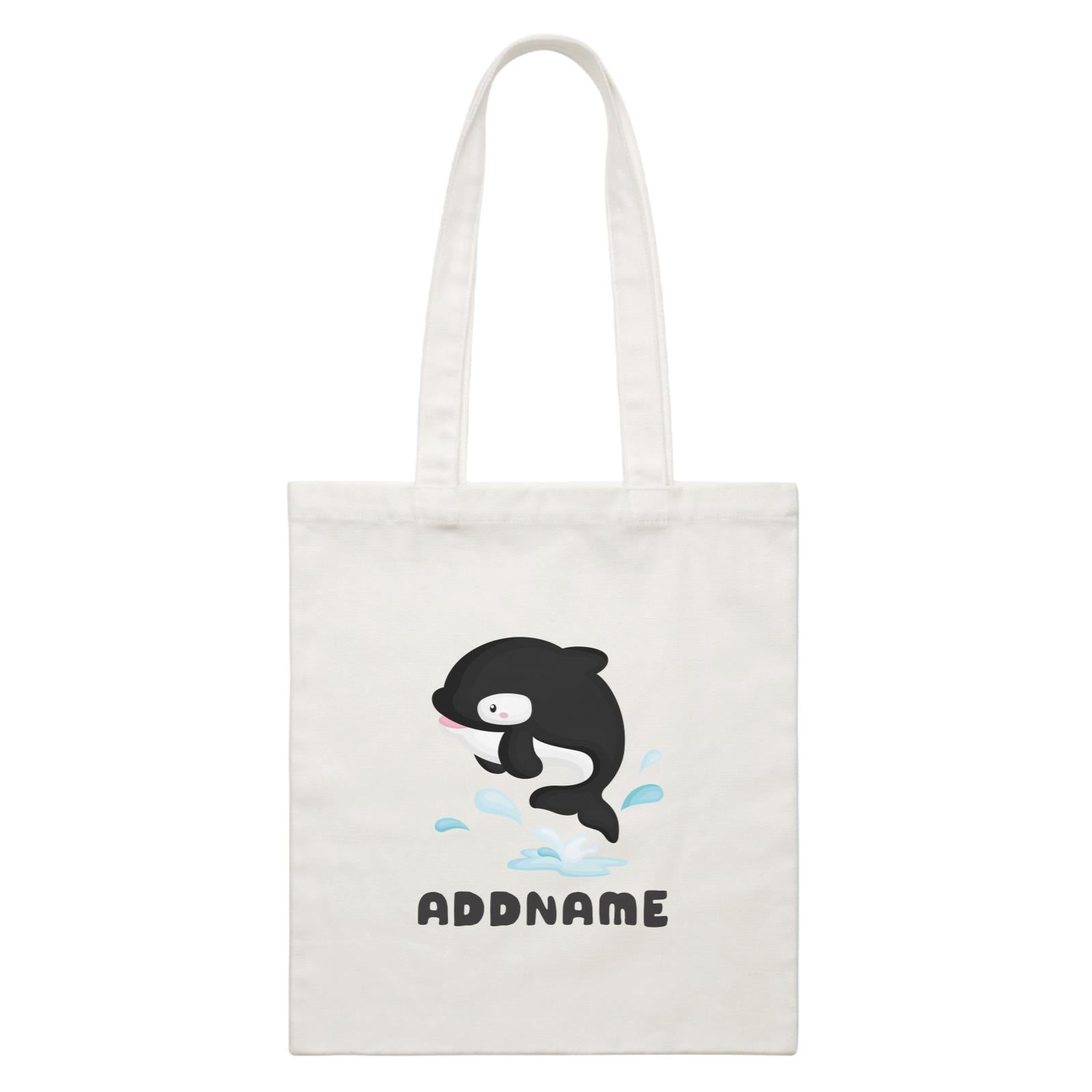Birthday Winter Animals Orca Addname White Canvas Bag