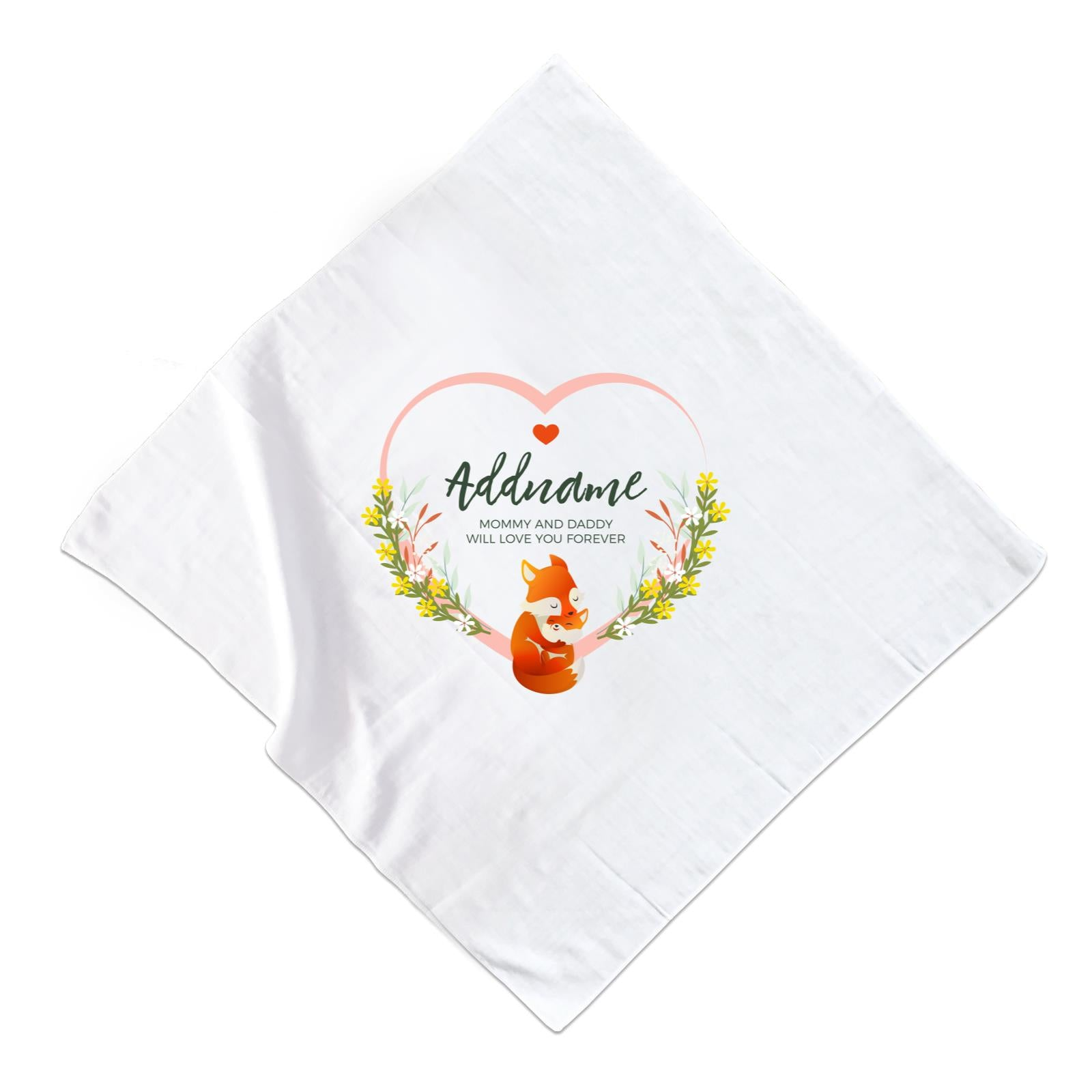 Loving Mother and Baby Fox in Heart Personalizable with Name and Text Muslin Square
