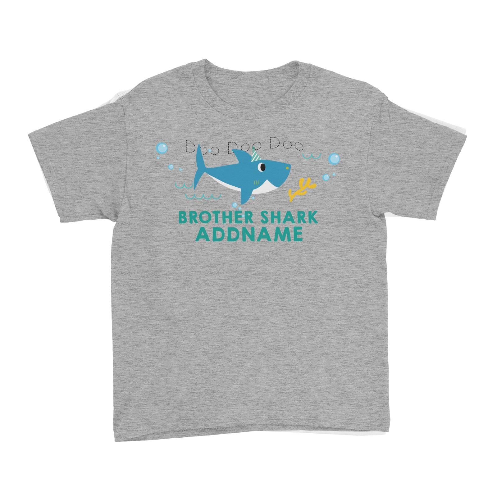 Brother Shark Birthday Theme Addname Kid's T-Shirt