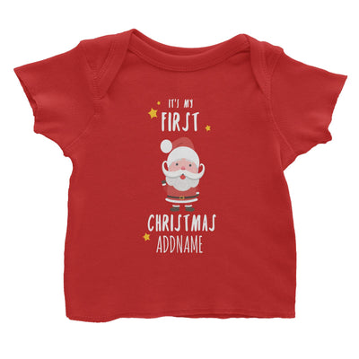 Cute Santa First Christmas Addname Baby T-Shirt  Personalizable Designs
