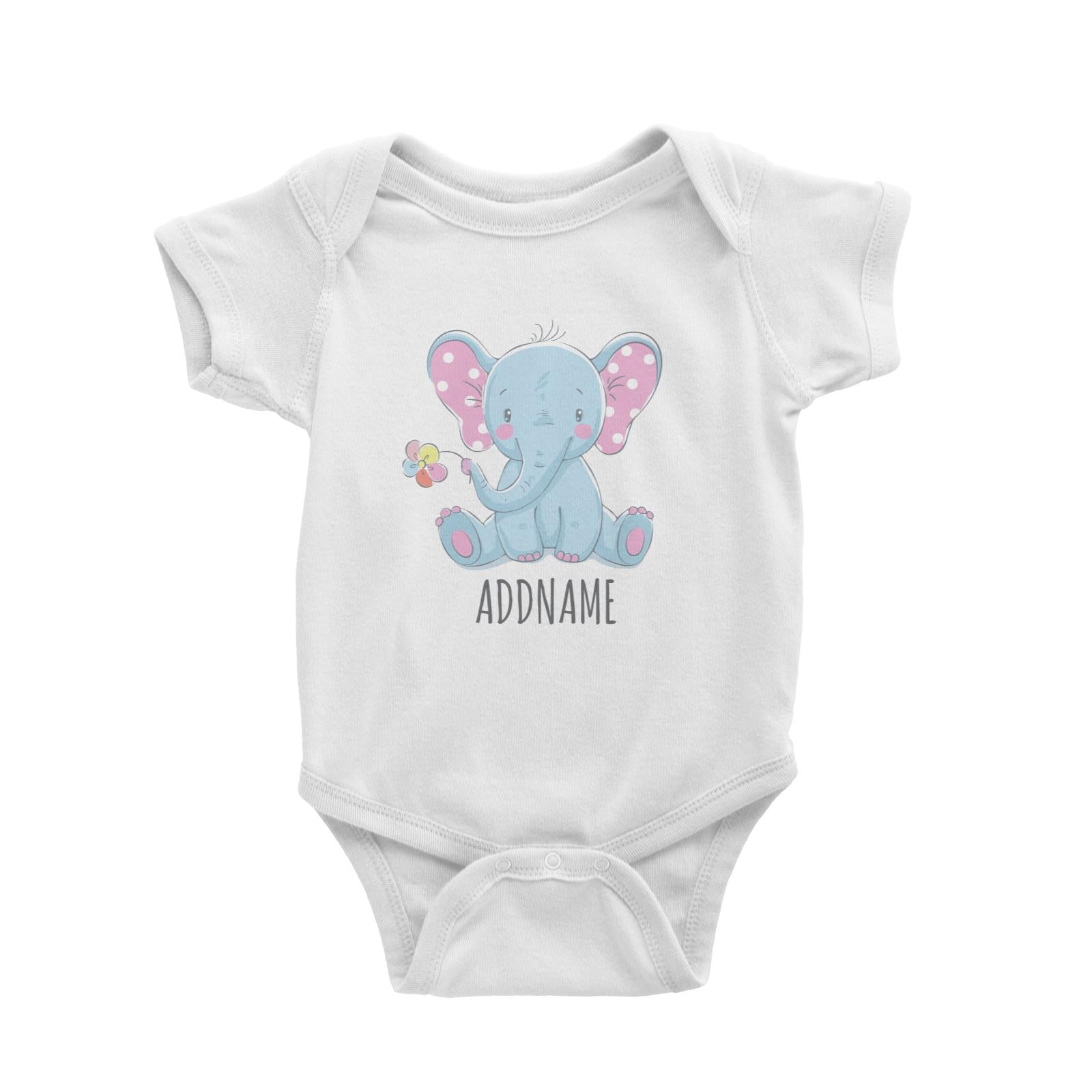 Sitting Boy Elephant with Flower White Baby Romper Personalizable