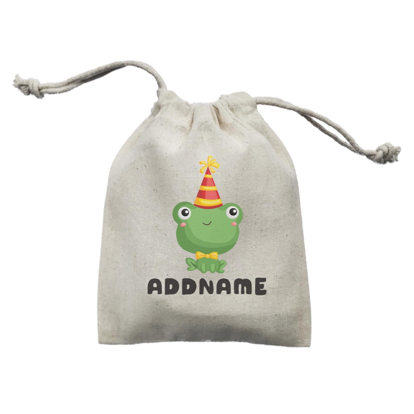 Birthday Frog Frog Wearing Party Hat Addname Mini Accessories Mini Pouch