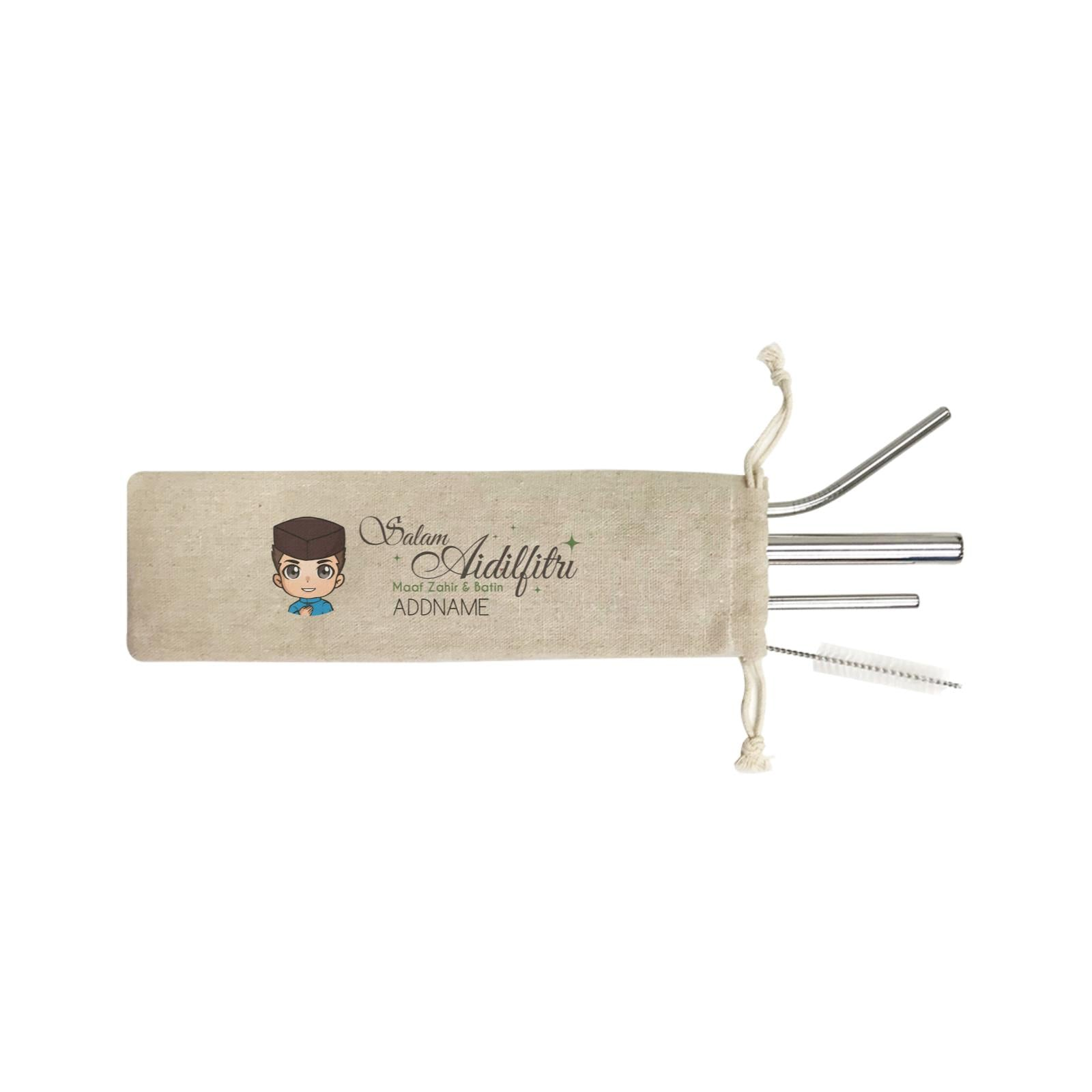 Raya Chibi Wishes Man Addname Wishes Everyone Salam Aidilfitri Maaf Zahir & Batin SB 4-In-1 Stainless Steel Straw Set in Satchel