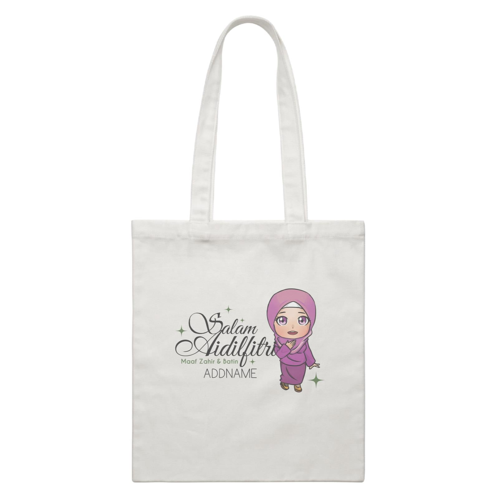 Raya Chibi Wishes Woman Addname Wishes Everyone Salam Aidilfitri Maaf Zahir & Batin White Canvas Bag