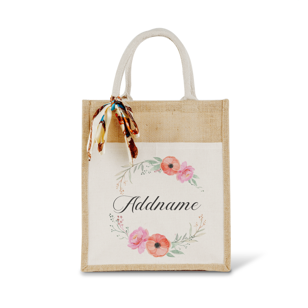 Elegant Flower Wreath Colourful Jute Bag With Front Pocket