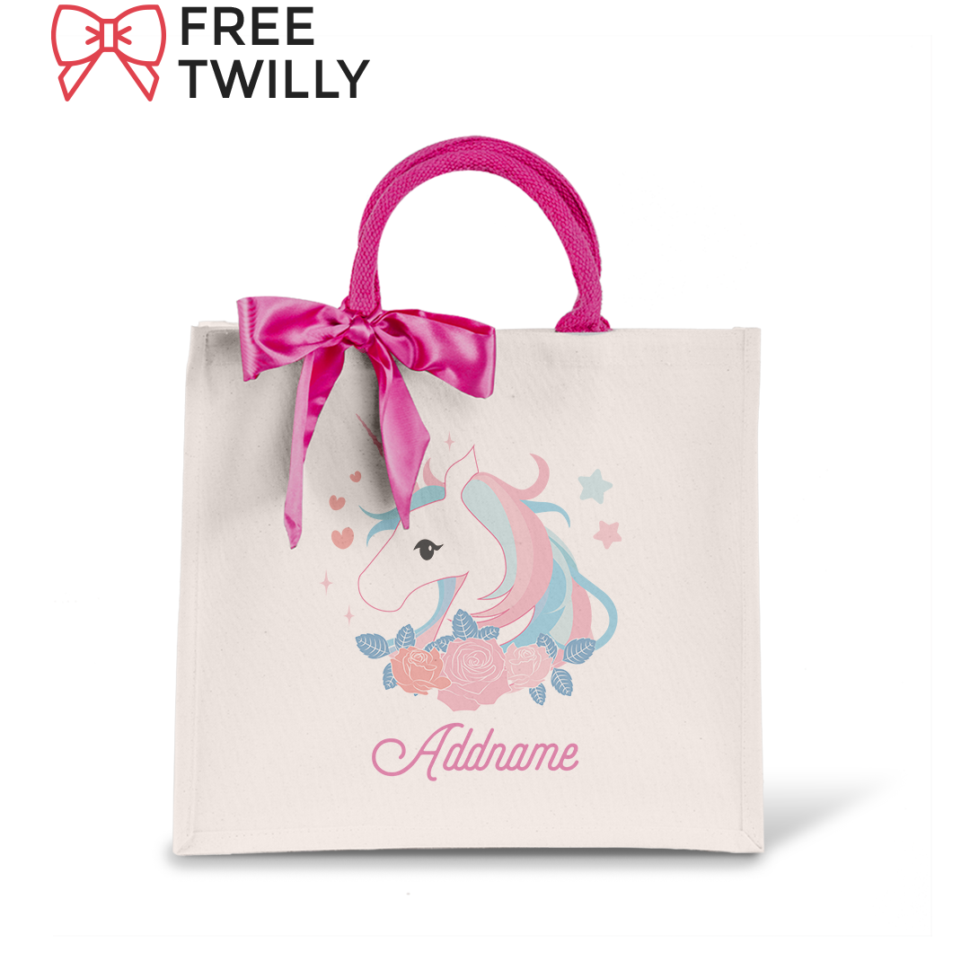 Unicorn Series Pink Unicorn Lady's Elegant Canvas Bag with Magenta Handle