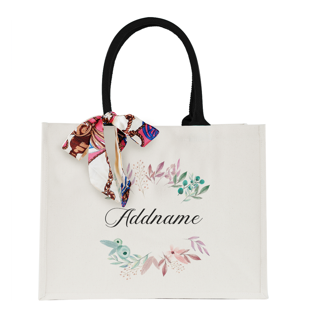 Flower Wreath With Leaves Elegant Thick Canvas Lady's Bag with Shoulder Handle