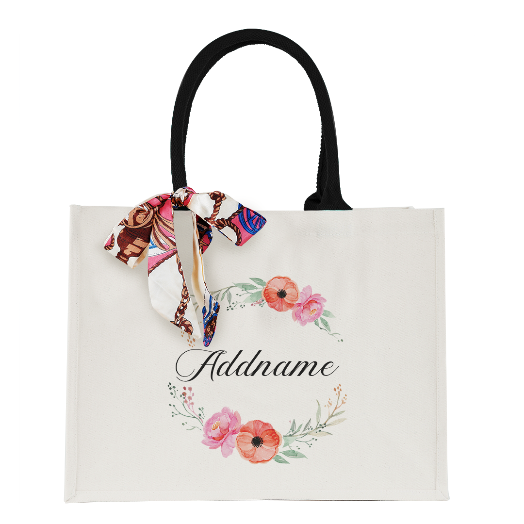 Elegant Flower Wreath Elegant Thick Canvas Lady's Bag with Shoulder Handle