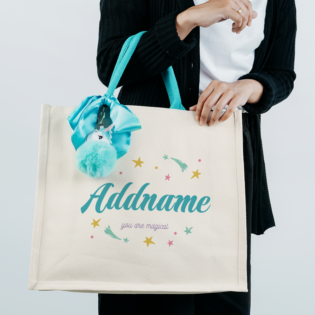 Unicorn Series Jute Bag Blue Turquoise Addname