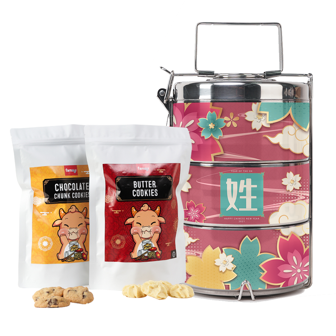 [CNY 2021] CNY Special Surname Series Cherry Blossom Pink Tiffin Carrier with Cookies Set