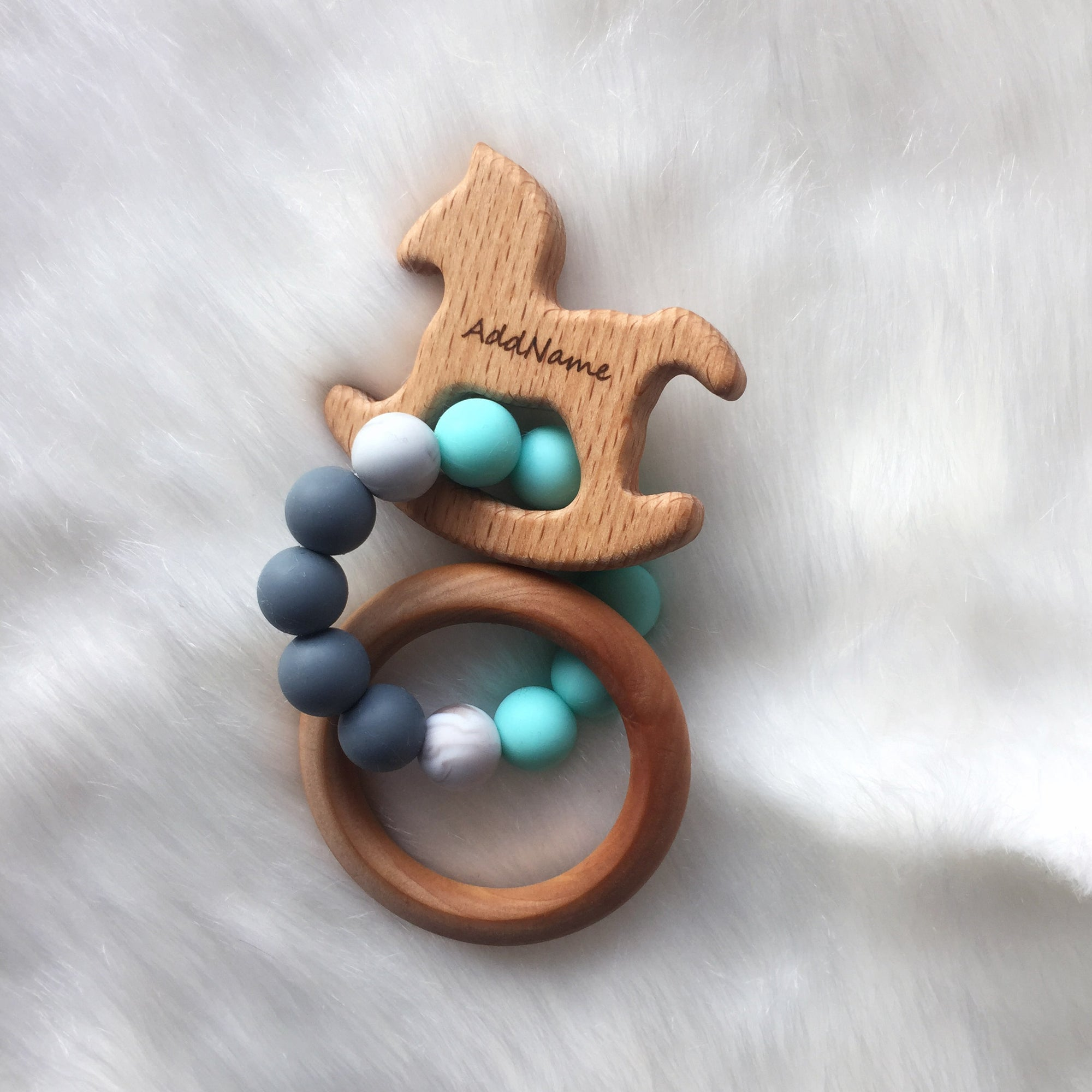Zaturee Personalisable Celeste Trojan & Ring Sensory Teether