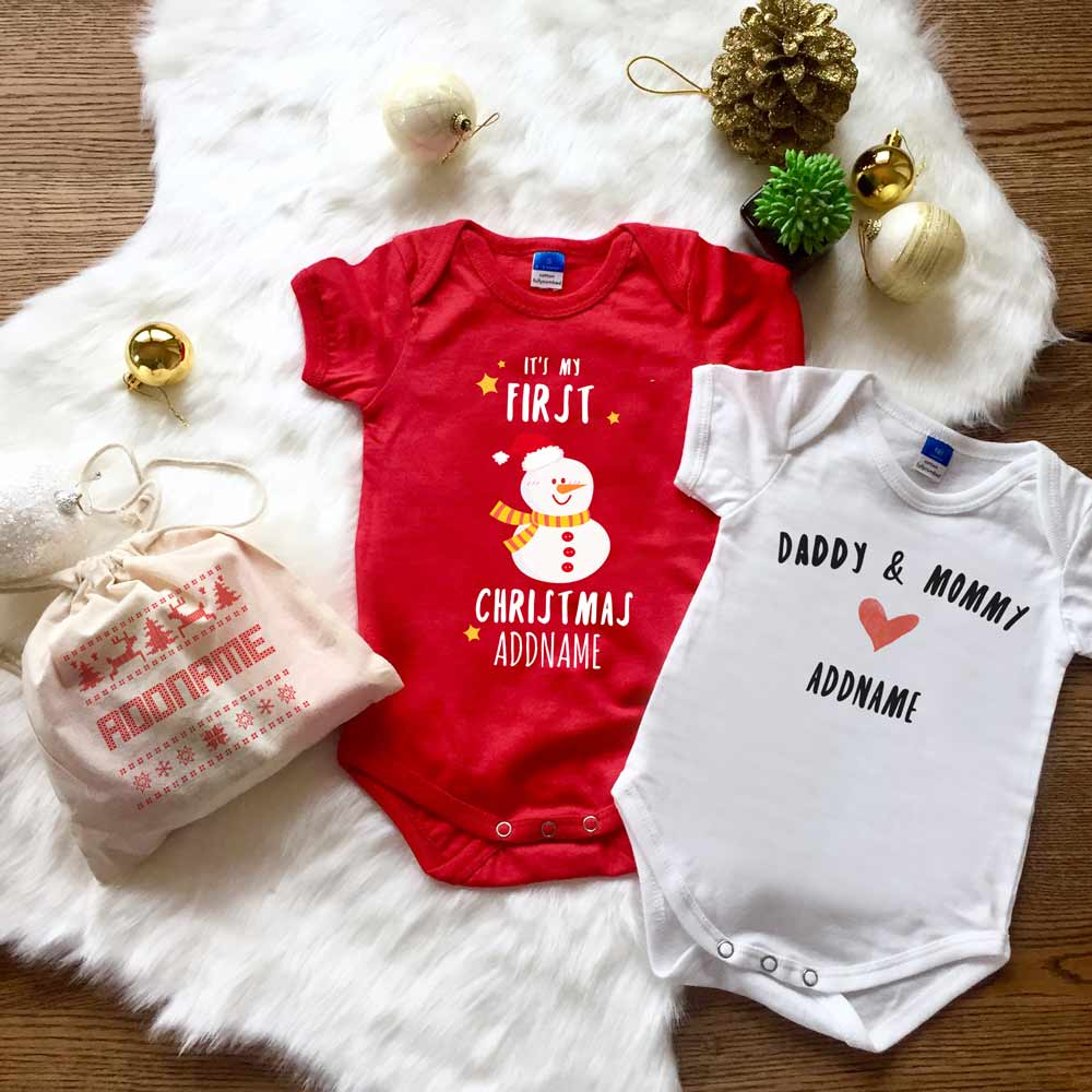 First Christmas Snowman Baby Romper Gift Set in a Satchel