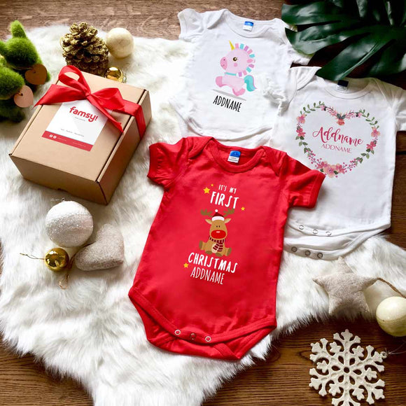 First Christmas Reindeer Baby Romper Gift Set