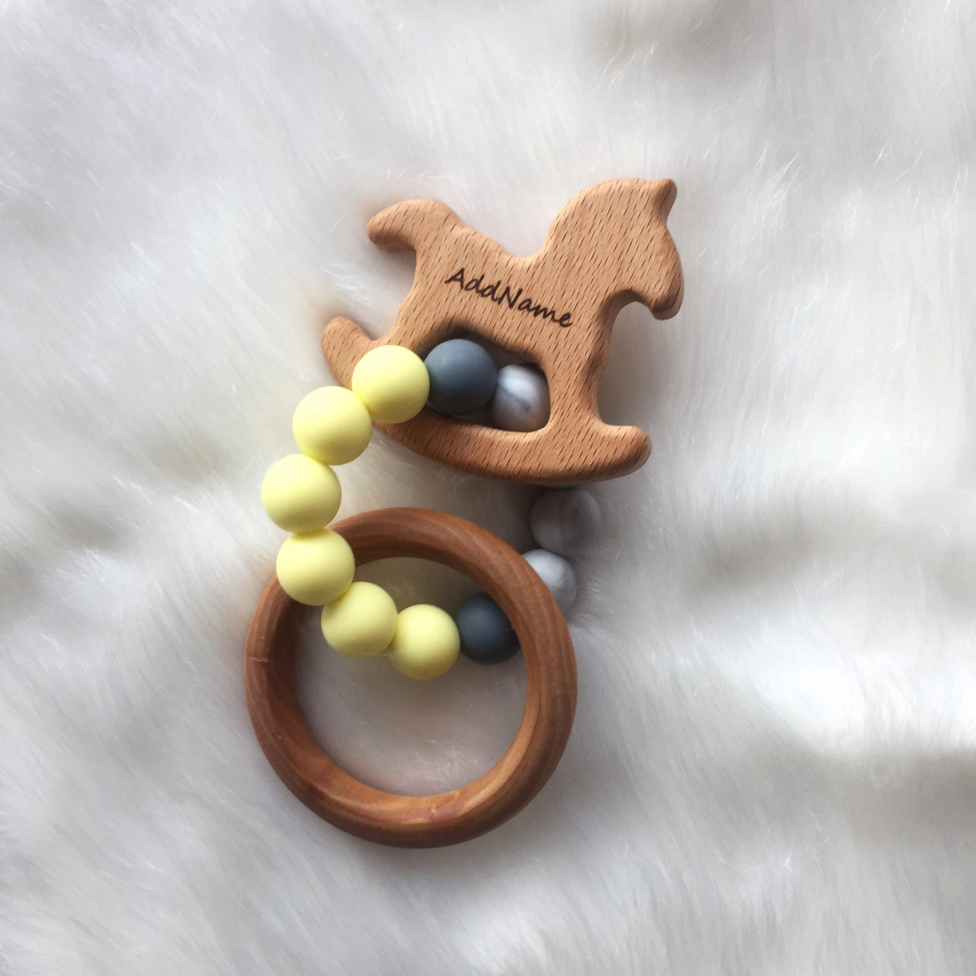 Zaturee Personalisable Cream Yellow Trojan & Ring Sensory Teether