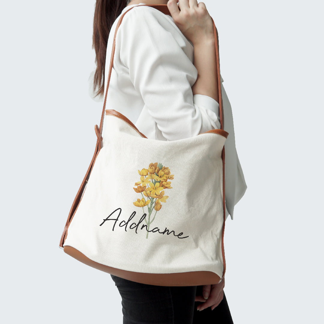 Premium Dahlia Bag with Yellow Flower Addname
