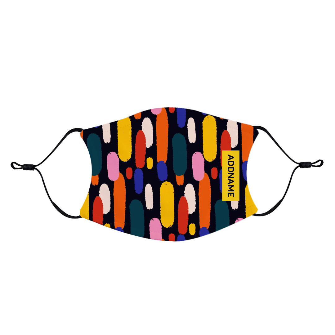 Abstract Colourful Strokes Fabric Face Mask with Adjustable Straps