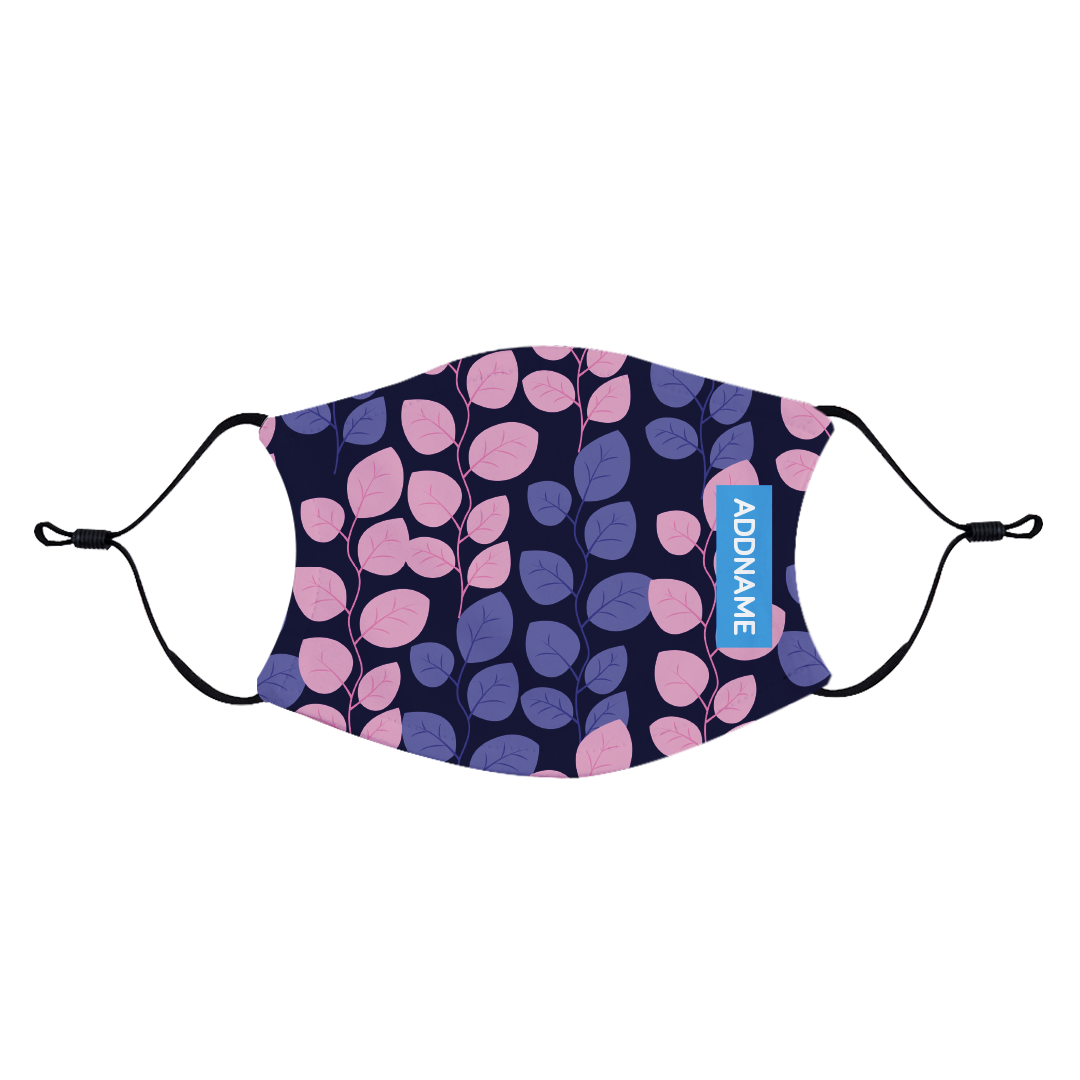 Purple Round Leaves Fabric Face Mask with Adjustable Straps