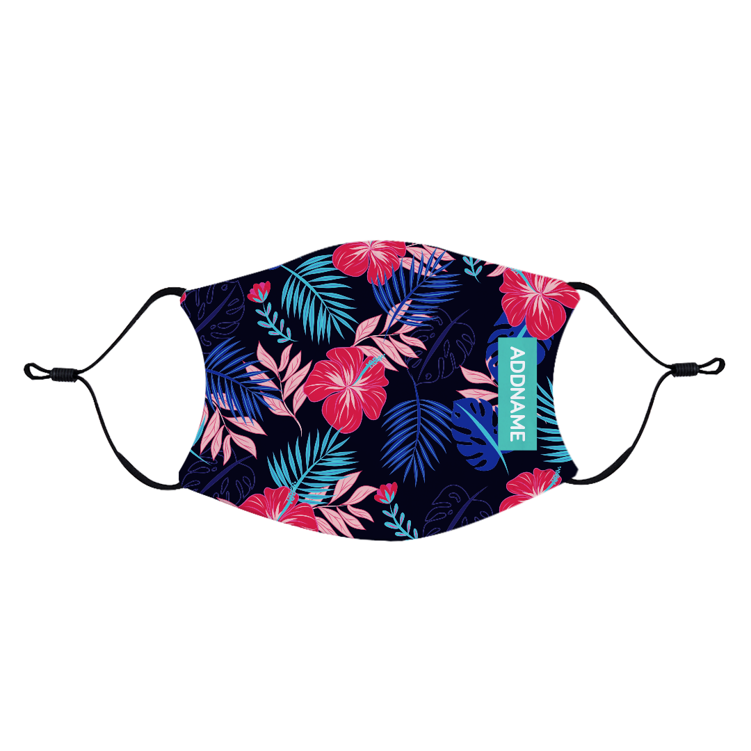 Tropical Hibiscus Fabric Face Mask with Adjustable Straps