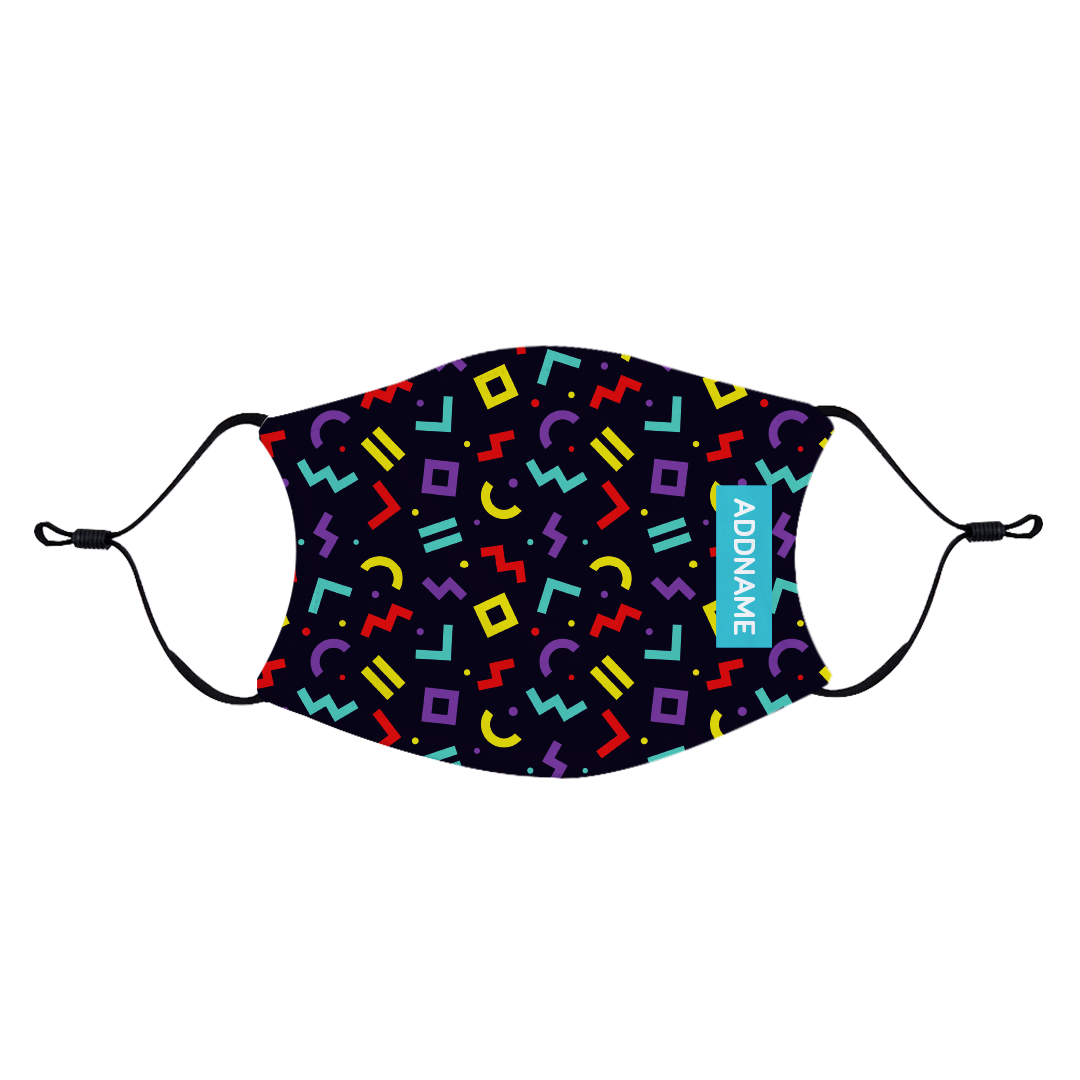 Neon Memphis Fabric Face Mask with Adjustable Straps