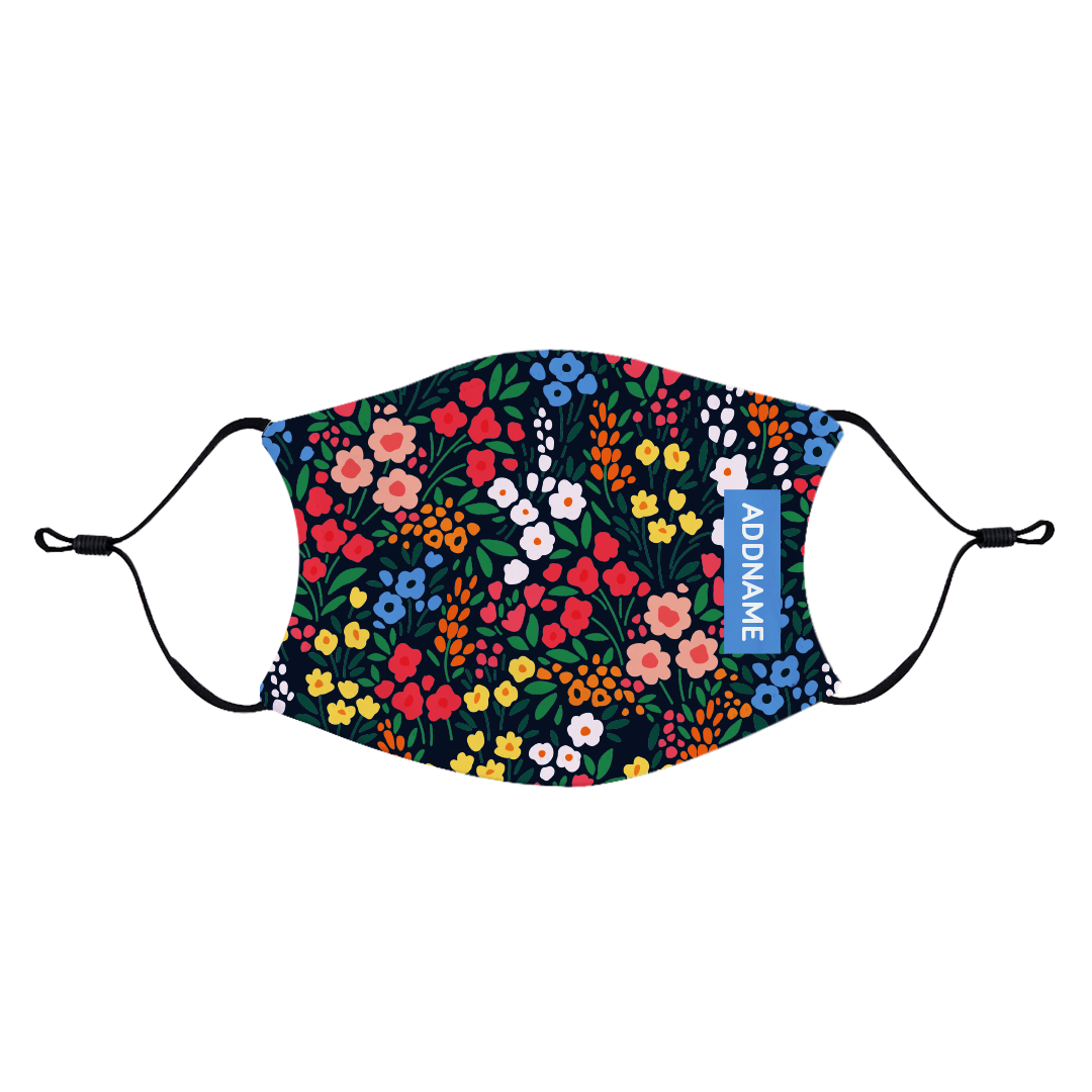 Garden Flowers Fabric Face Mask with Adjustable Straps