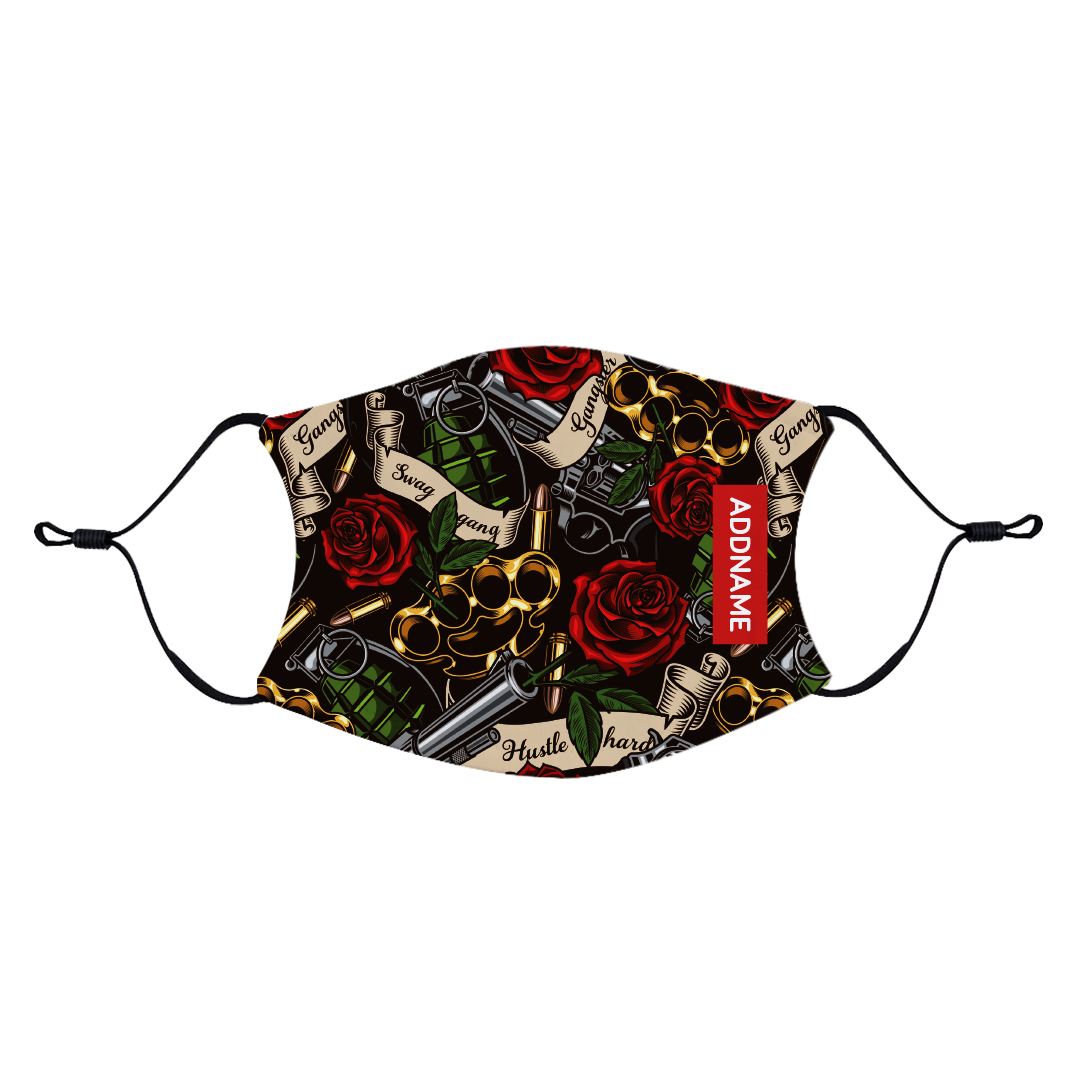 Guns And Roses Fabric Face Mask with Adjustable Straps