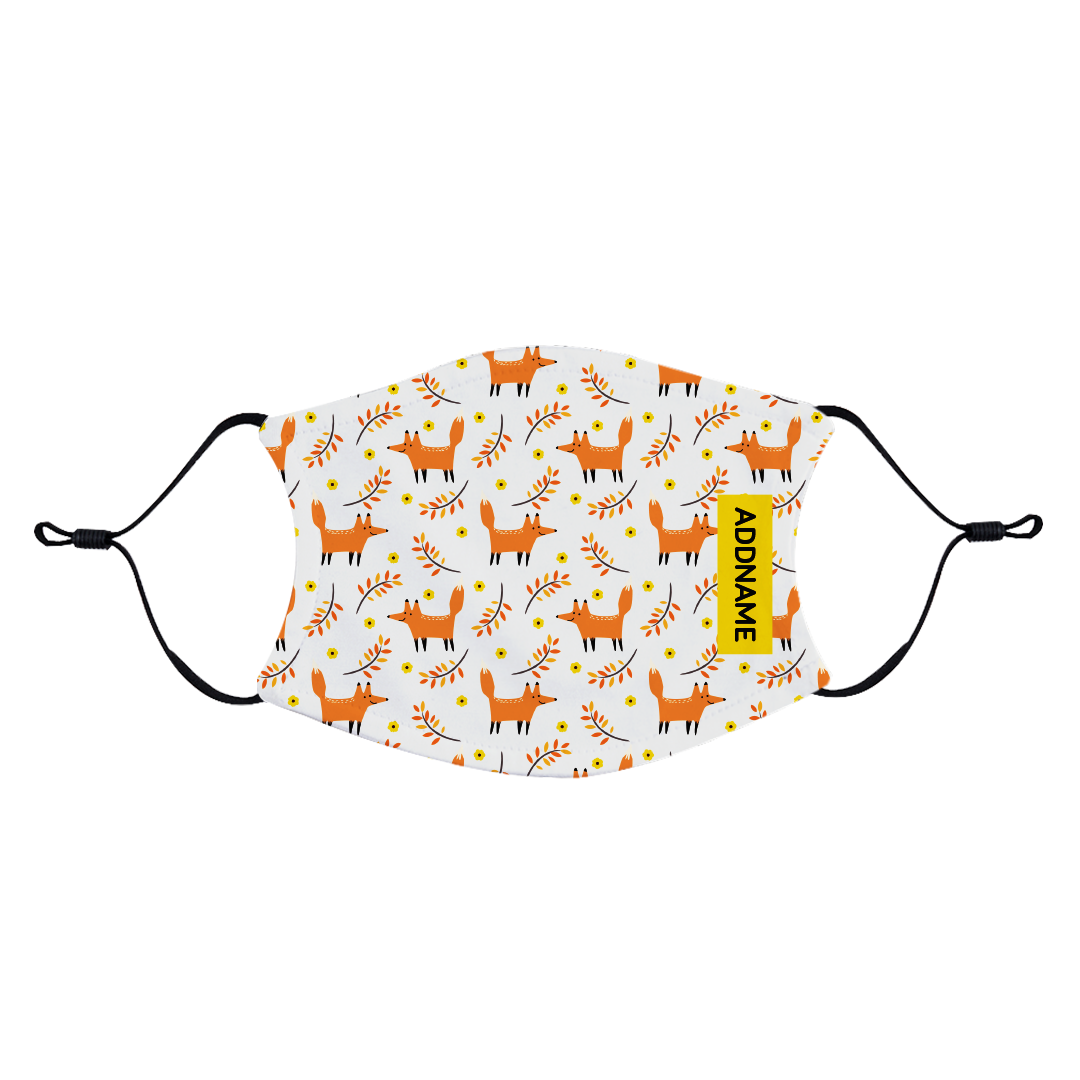 Autumn Fox Fabric Face Mask with Adjustable Straps