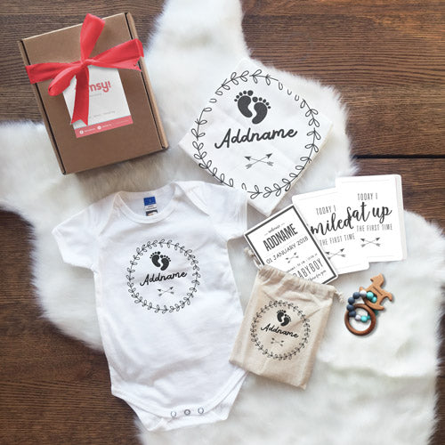 Monochrome Footprints and Arrows Newborn Gift Set with Personalised Milestone Cards and Baby Sensory Teether (UNDER RM 160)